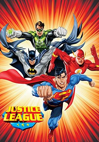 Justice League (Superman, Batman, The Flash, and Green Lantern) Sunburst Red Luxury Plush Blanket 60″x80″ Twin Size (Blanket Green Lantern)