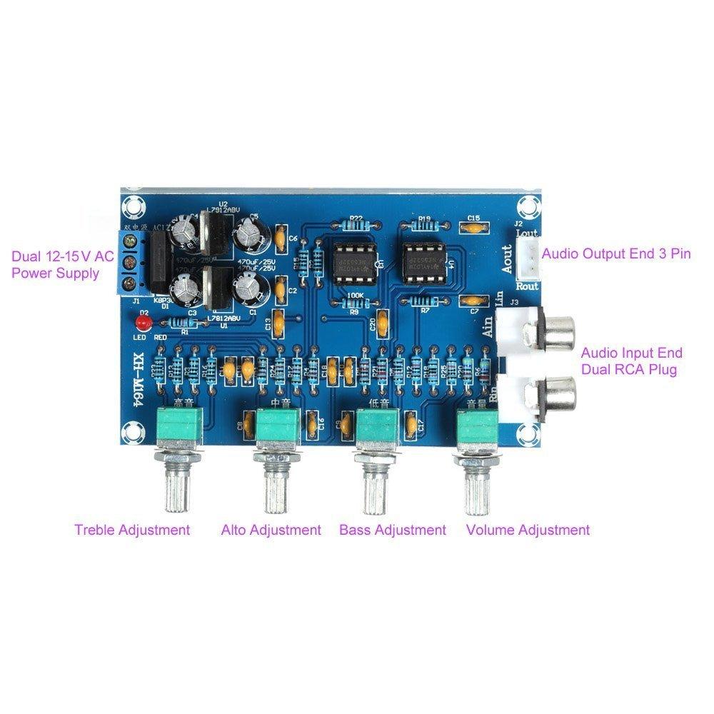 Wingoneer Ne5532 Stereo Pre Amp Preamplifier Tone Board Audio 4 Passive Control Circuit Channels Amplifier Hi Fi Speakers