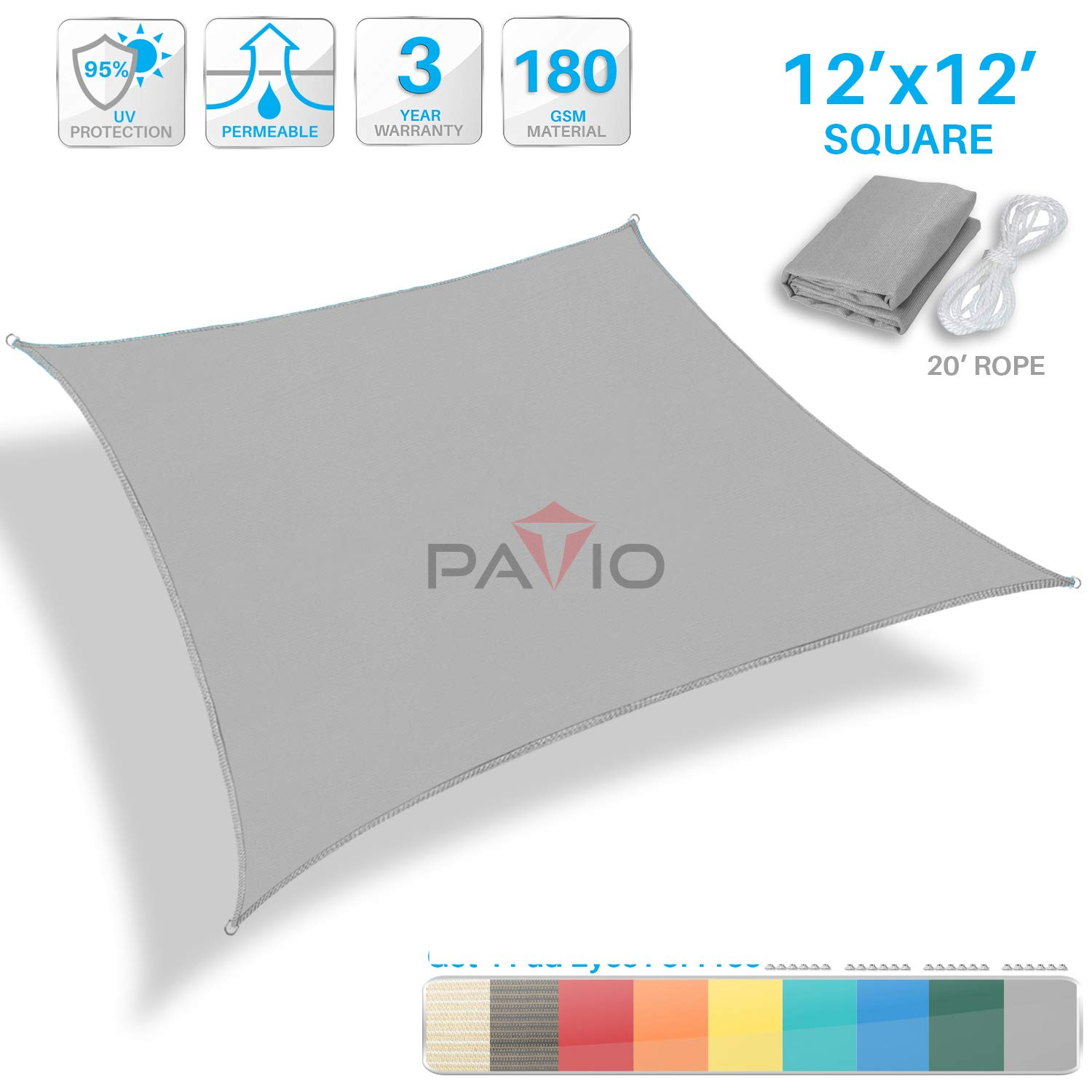 Patio Paradise 12 x 12 Light Grey Sun Shade Sail Square Square Canopy – Permeable UV Block Fabric Durable Outdoor – Customized Available