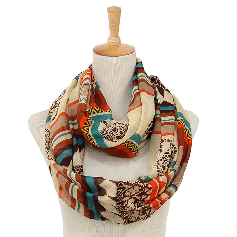 Bohemian Accessories Lady Scarves for Summer Sheer Lightweight Infinity Scarf for Women from Trelemek