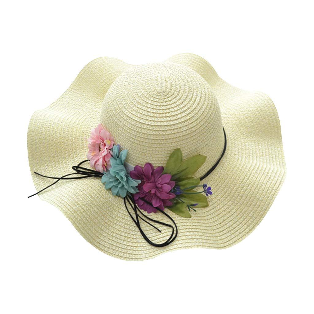 puhoon Mother Daughter Wave Floppy Big Brim Hat Summer Beach Straw Sun Hat