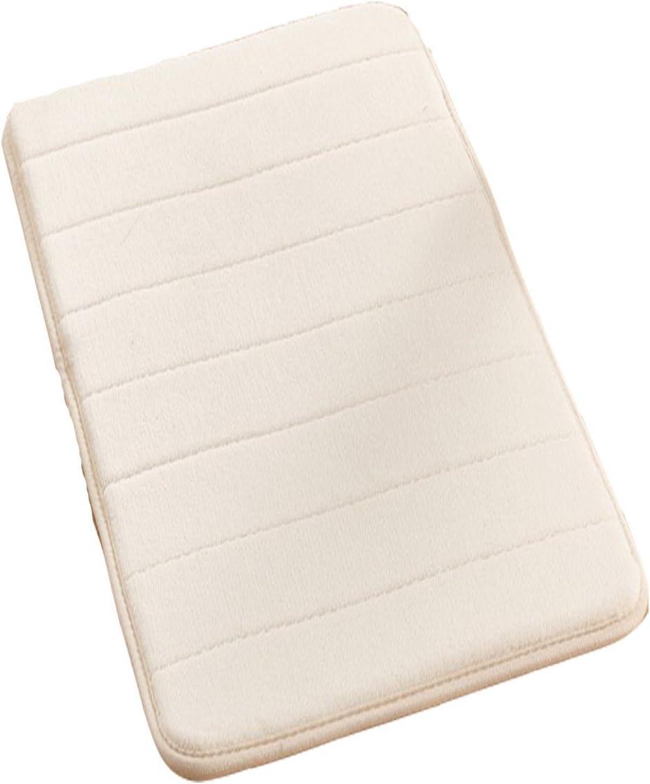 Bath Rugs Anti-Slip Memory Foam Non-Slip Bathroom Mat Soft Bathmat Water Absorbing Carpet (50x120, Beige)