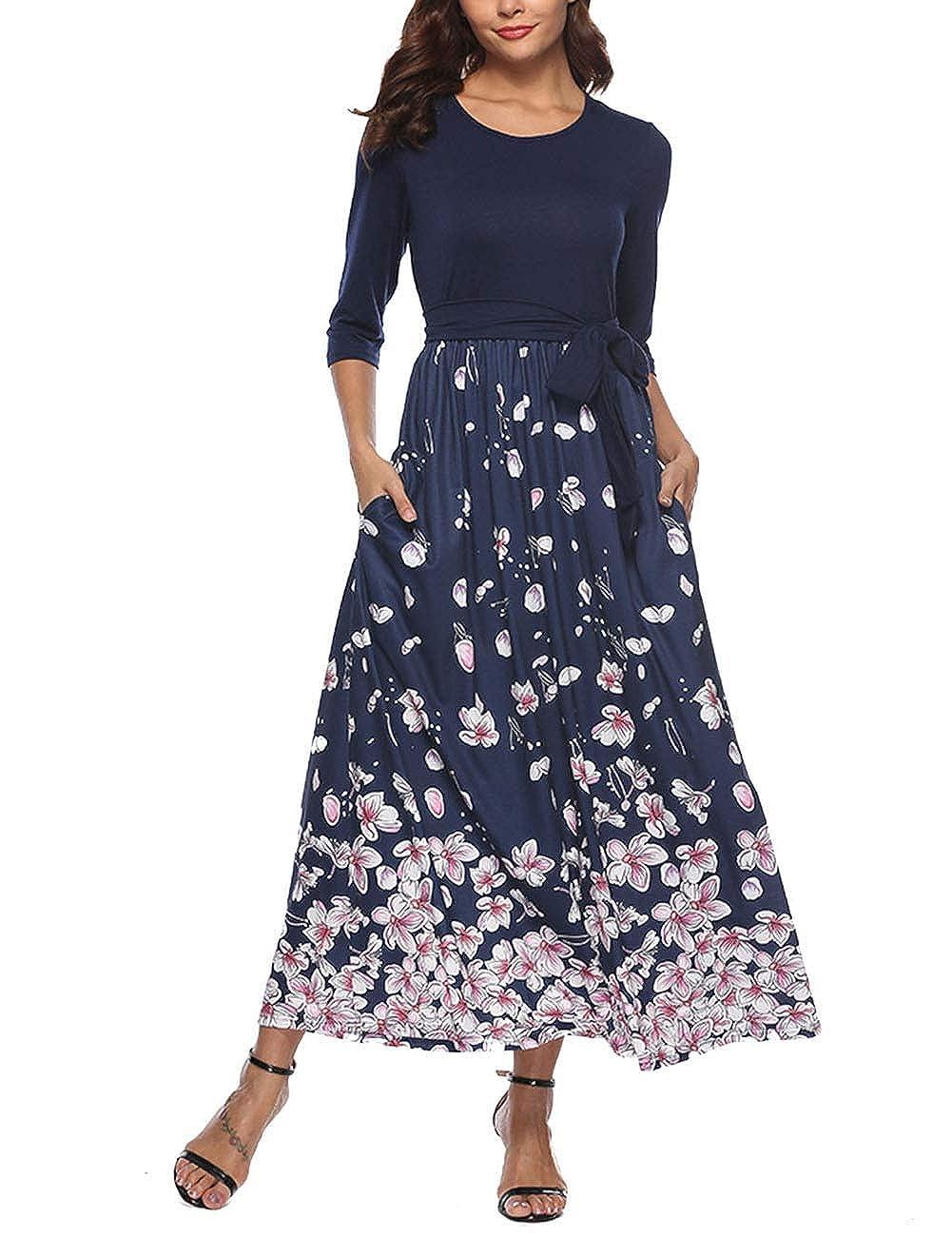 bluee Print YUMDO Women's Short Sleeve Floral Print T Shirt Vintage Blouse Top Asymmetric Hem