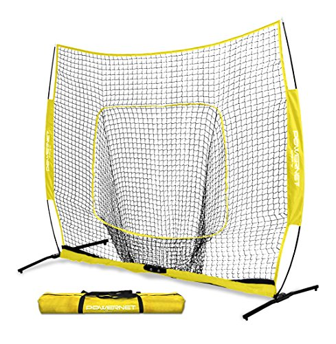 - PowerNet 7x7 PRO Net with One Piece Frame (Yellow) | Baseball Softball Practice Net | Training Aid for Hitting Pitching Batting Fielding Portable Backstop | Bow Style Frame | Non-Tip Weighted Base