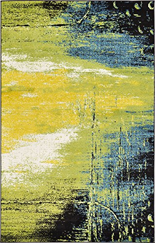 Unique Loom Lyon Collection Modern Abstract Light Green Area Rug (5' x 8') ()