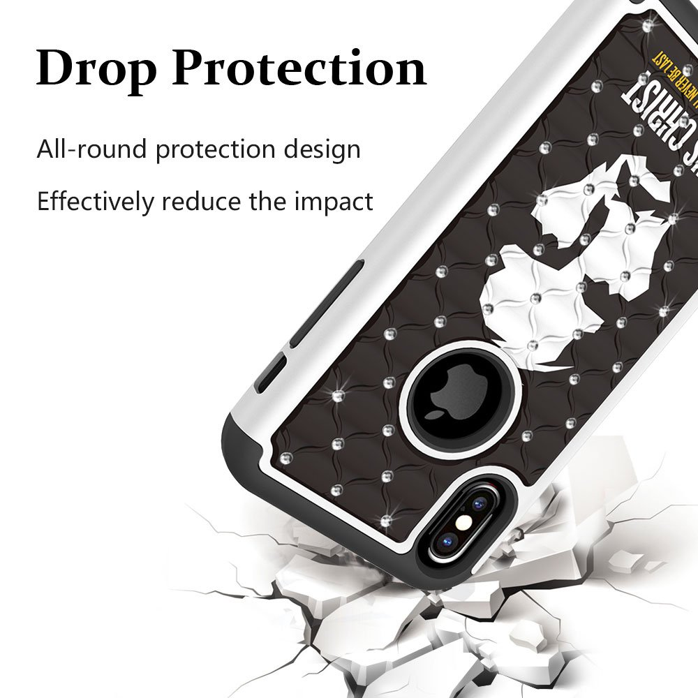 iPhone X Case, MagicSky [Shock Absorption] Studded Rhinestone Bling Hybrid Dual Layer Armor Defender Protective Case Cover for Apple iPhoneX - Jesus