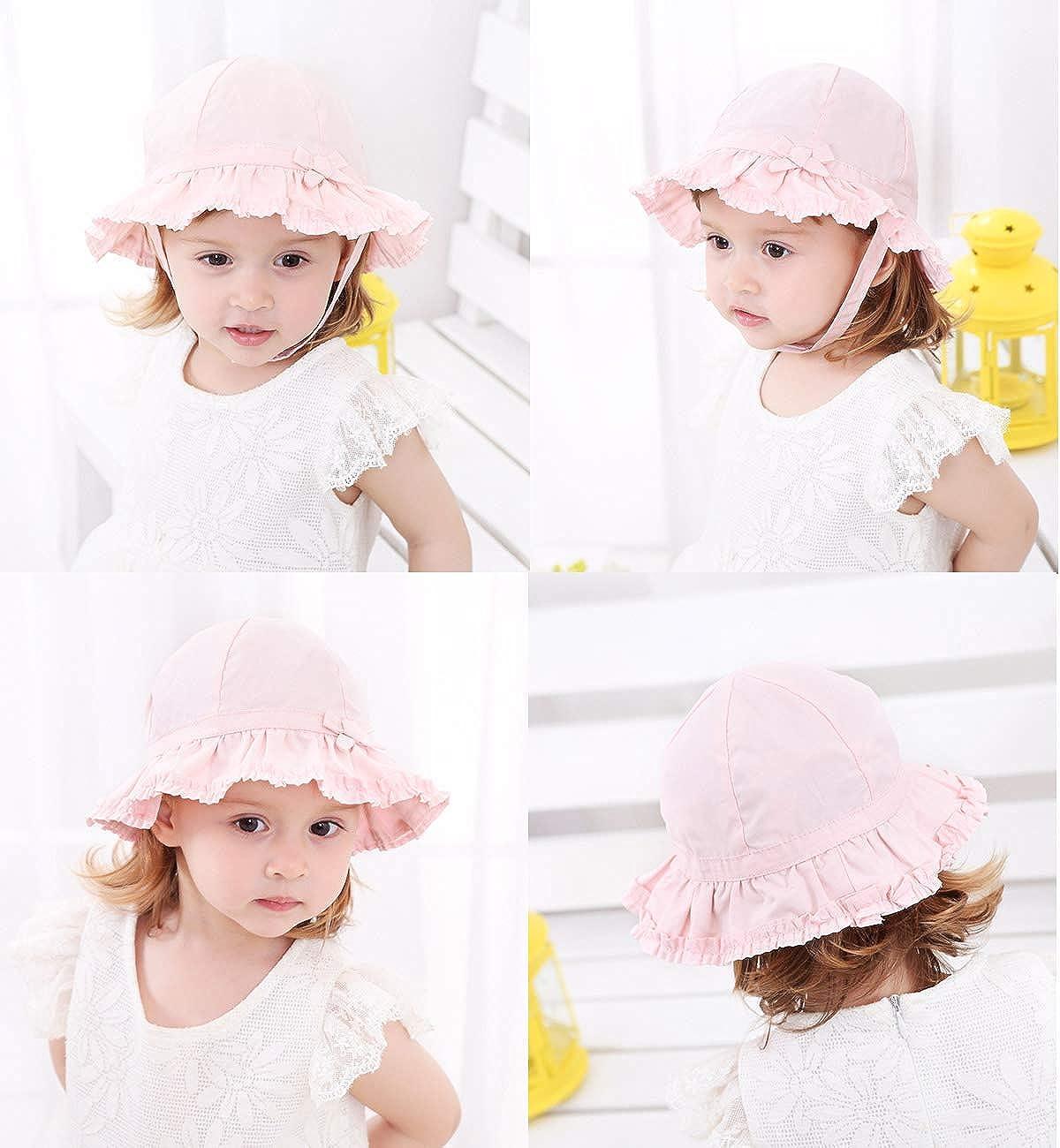 Lachi Cappello Solare Bambino Neonati Bordo Largo Bowknot Dietro Cappello Protezione da Sole con Sottogola