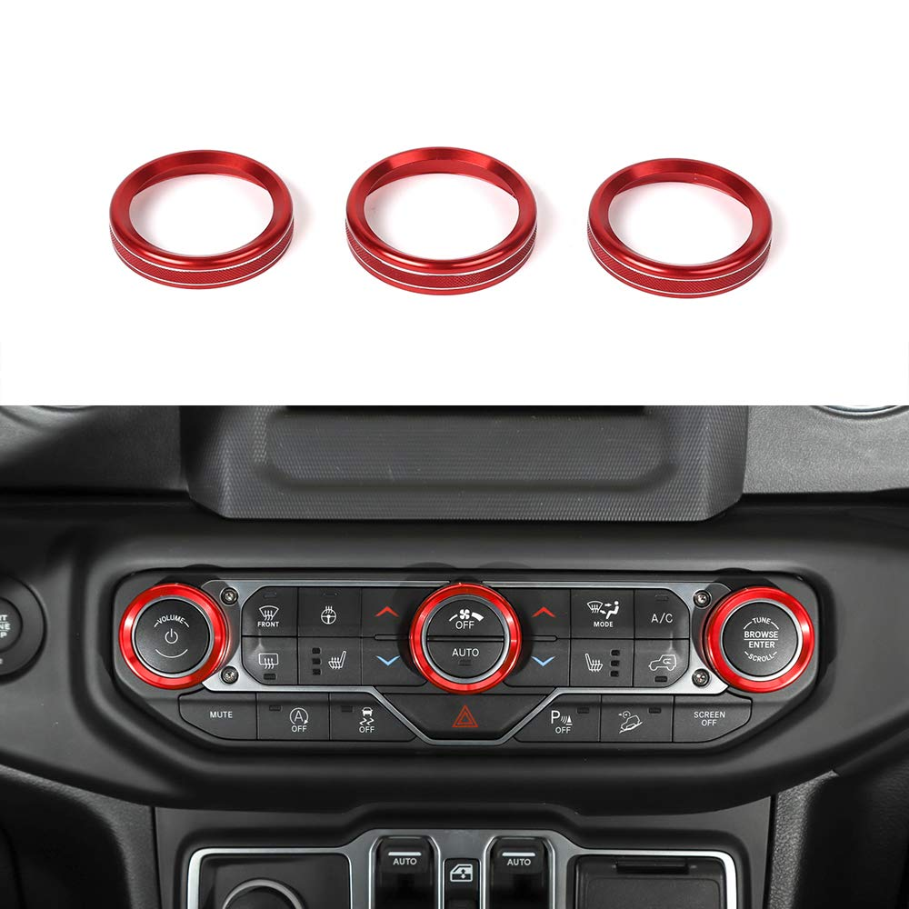 BORUIEN Red for Jeep Wrangler 2018+ JL Aluminum Alloy Air Conditioner Rotary Switch Knob Ring Cover Decal Decor Trim