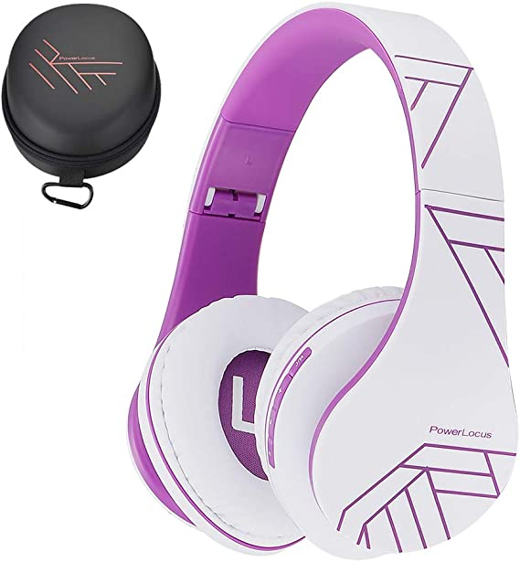 Amazon Com Powerlocus Bluetooth Over Ear Headphones Wireless Stereo Foldable Headphones Wireless And Wired Headsets With Built In Mic Micro Sd Tf Fm For Iphone Samsung Ipad Pc White Violet
