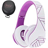 PowerLocus Bluetooth Over-Ear Headphones, Wireless Stereo Foldable Headphones Wireless and Wired Headsets with Built-in Mic, Micro SD/TF, FM for iPhone/Samsung/iPad/PC (White/Violet)