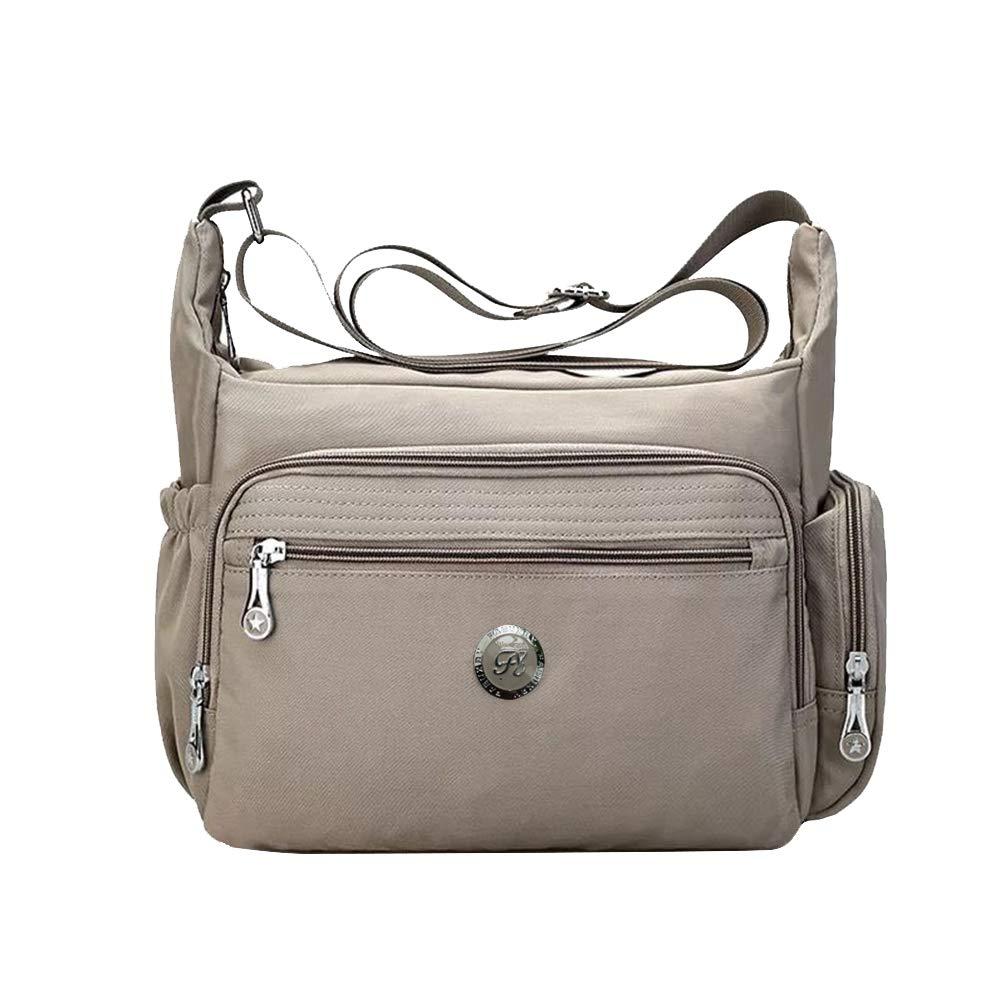 Khaki Fabuxry Crossbody Handbag for Women Organize Pack Shoulder Bag Messenger Purses