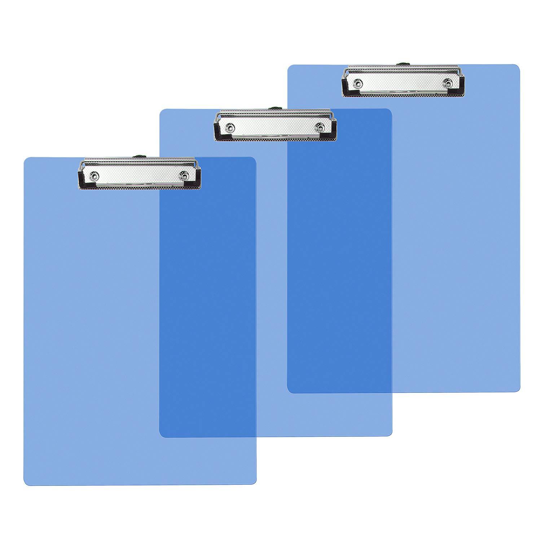 Vordas 3 Pezzi Portablocco a4 con Pinza Trasparente, Ideale per il Lavoro Quotidiano, 315 * 225 mm (Blu)
