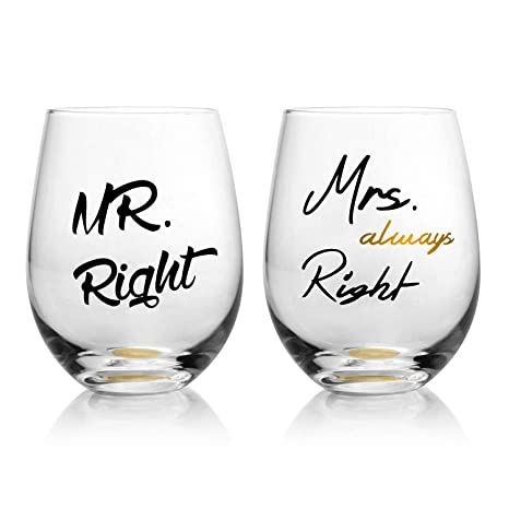 Funny Wedding Gifts.Funny Wedding Gifts Mr Right Mrs Always Right Wine Glasses Set Of 2 Engagement Gifts Or Wedding Shower Gift For Couples