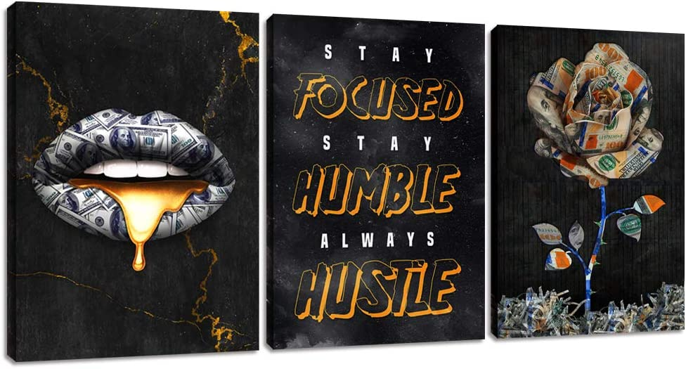 """Modern Entrepreneur Hustle Posters Motivational Quotes Office Canvas Wall Art Decor Inspirational Lips Painting Picture Motivation Flower Wall Decor Decoration for Living Room Bedroom (48""""Wx24""""H)"""