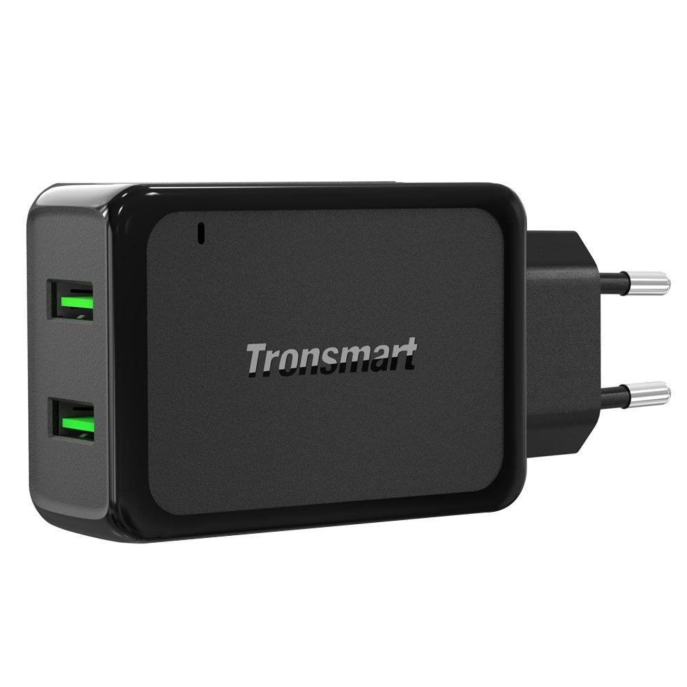 [Quick Charge 3.0 & VoltiQ] 36W con 2 Puertos de Tronsmart Cargador Universal USB con Certificación Qualcomm Enchufe Europeo con Luz indicadora para ...