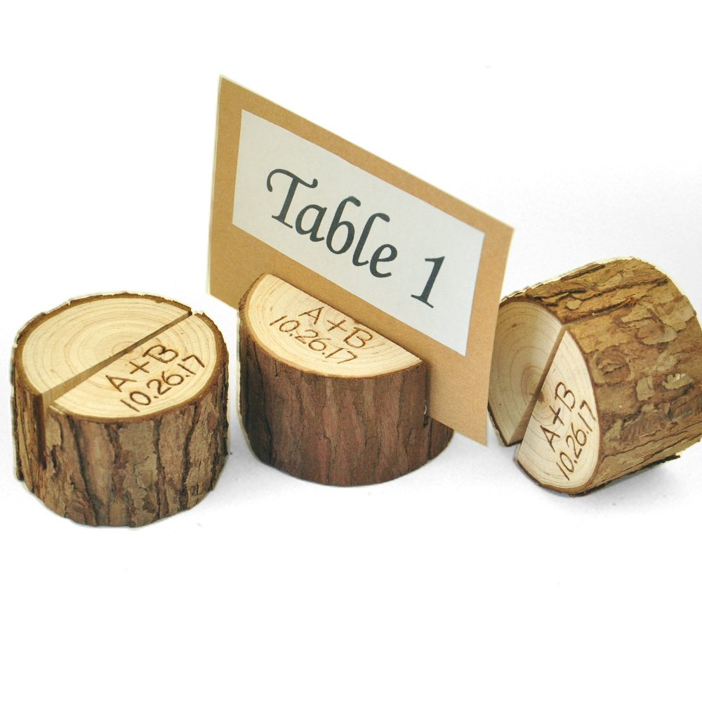 Set of 10 Personalized Wood Table Number Holder,Table Number 1-10 Holder,Wedding place card holder,Rustic table Party decor by ZXB JEWELRY (Image #2)