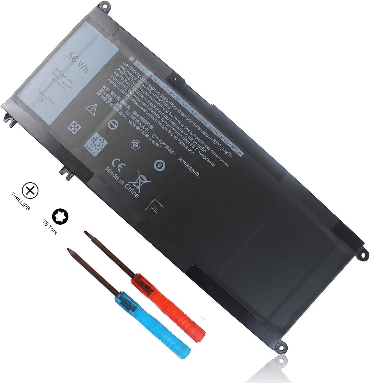 15.2V 56Wh 33YDH Battery Compatible with Dell Inspiron 17 7000 7778 7779 7786 7773 15 7577 G3 3579 3779 G5 5587 G7 7588 Latitude 3380 3490 3590 3580 Vostro 7580 7570 PVHT1 P30E P30E001 81PF3 081PF3