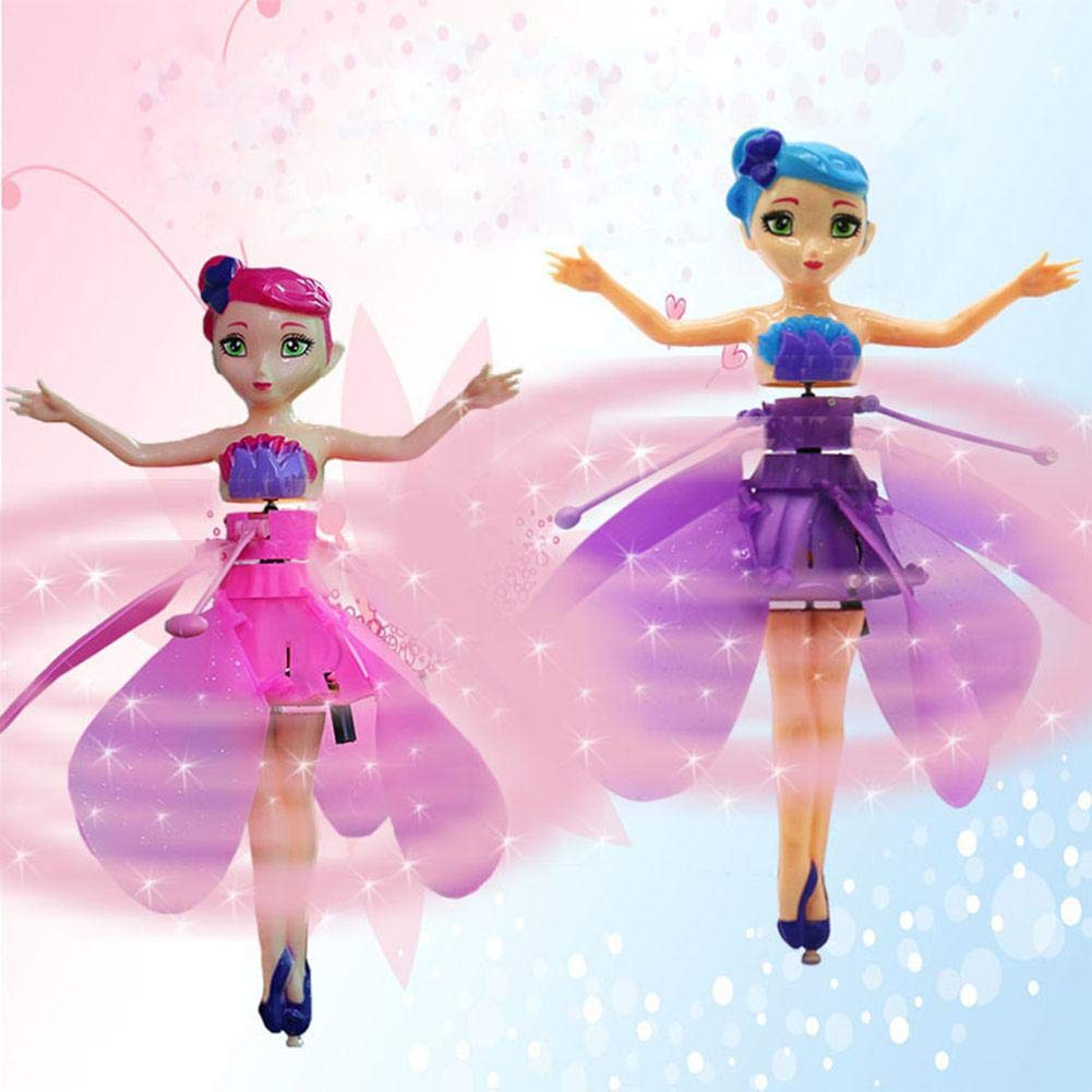 Flying Fairy Doll for Girls,Automatic Induction Helicopter Flying Toys with Lights Princess Doll,Gift for 2 to 8 Years Children Dolls Without Remote Control