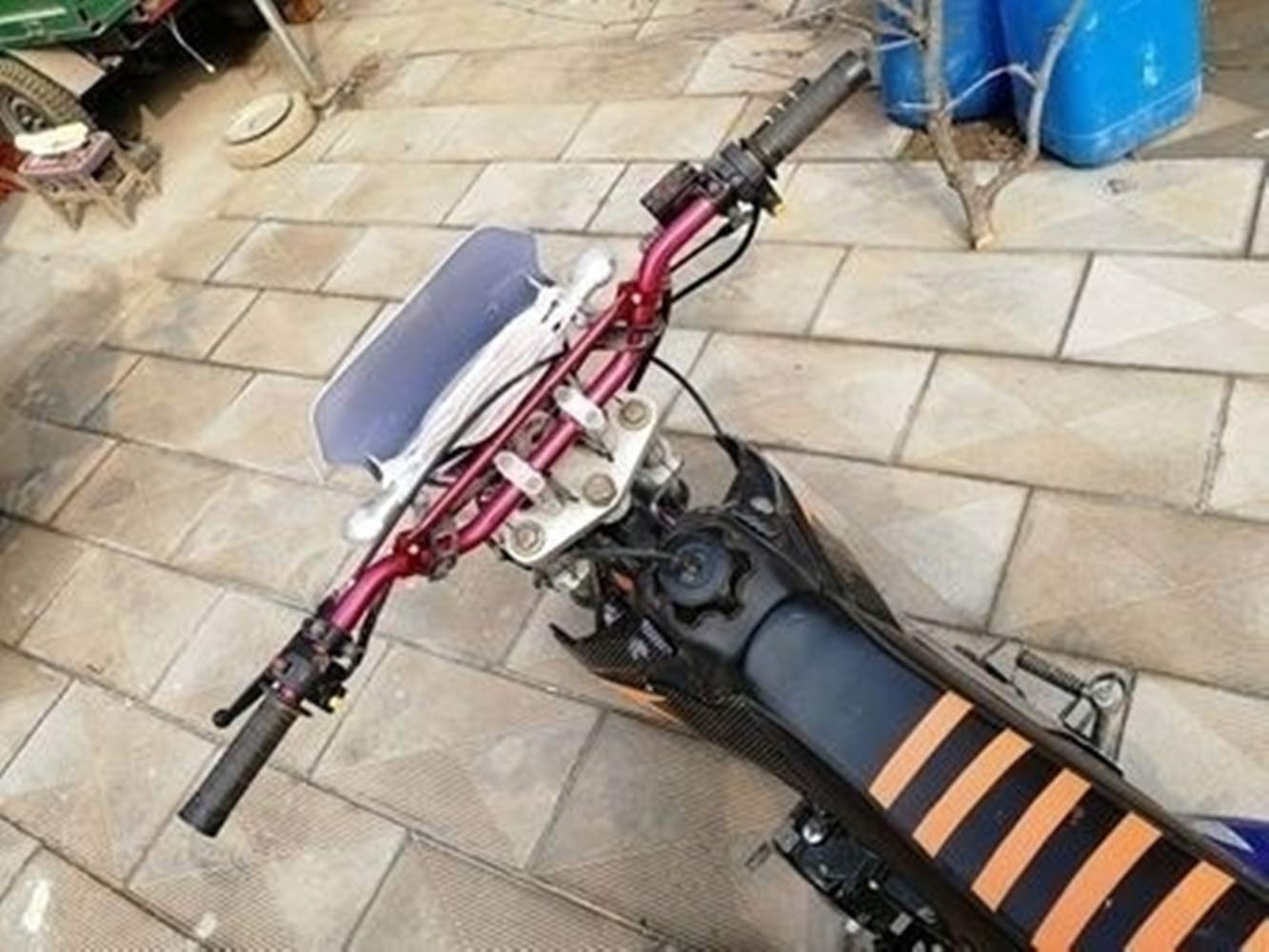 Schwarz 80 cm Mofa Quad Roller//Scooter Simson Moped f/ür Motorrad Motocross Lenker Flach mit Strebe