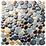 Glazed Blue Mosaic Ceramic Pebble Porcelain Tile Swimming Pool Bath Shower Wall Flooring Tile TSTGPT001 (11 Square Feet)