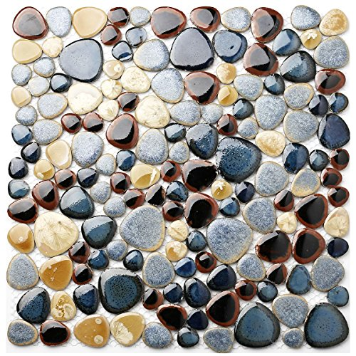 Glazed Blue Mosaic Ceramic Pebble Porcelain Tile Swimming Pool Bath Shower Wall Flooring Tile TSTGPT001 (11 Square (Blue Polished Flooring)