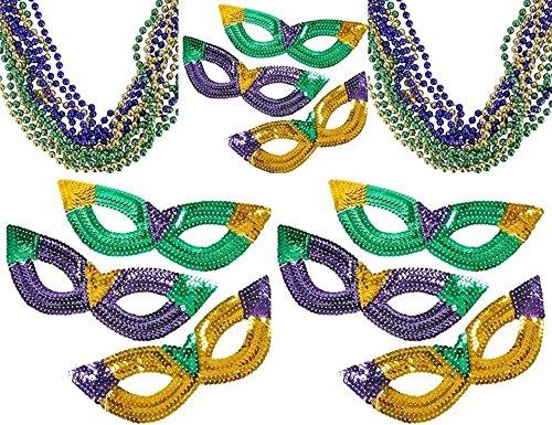 Mask Prop Set (12 Sequin Mardi Gras Masks and 24 Mardi Gras Beads set - Mardi Gras Photo booth props and Mardi Gras decorations)