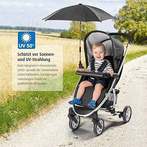 reer ShineSafe Parasol voor kinderwagen, universeel bruikbaar, draai- en kantelbaar, zwart