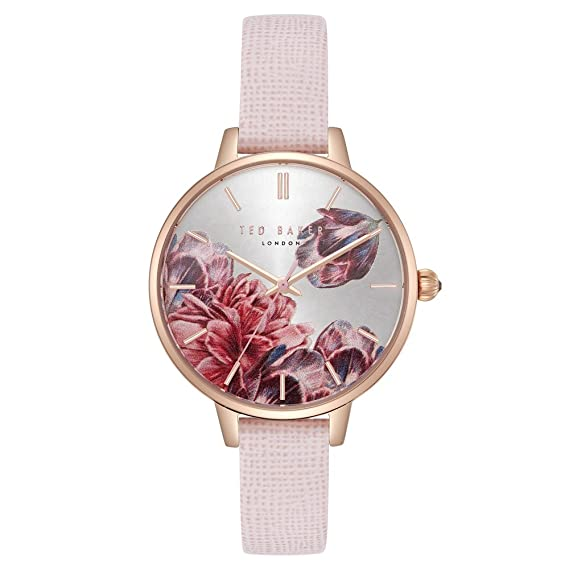 a56a8c686 Ted Baker Women's 3 Hands Slim Kate Case Floral Dial Genuine Pink Leather  Strap Watch (Model: TE50005006): Ted Baker: Amazon.ca: Watches