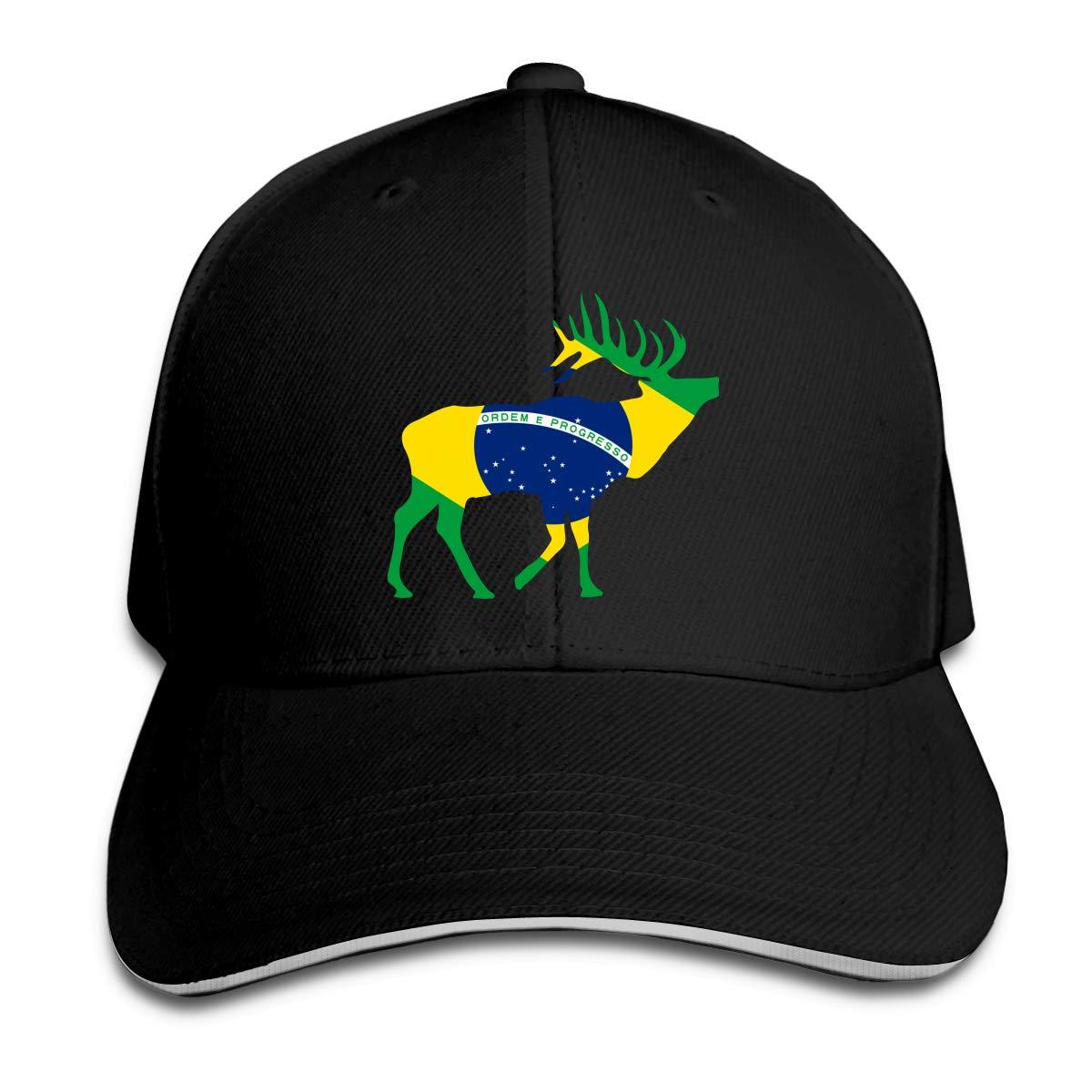 Elk Brazil Flag Outdoor Snapback Sandwich Cap Adjustable Baseball Hat Dad Hat