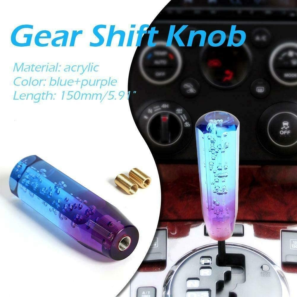 Blue Purple Dingln Universal Two-Color Crystal Bubble Shift Knob Manual Gear Stick Lever Head With 8mm 10mm Threaded Fittings
