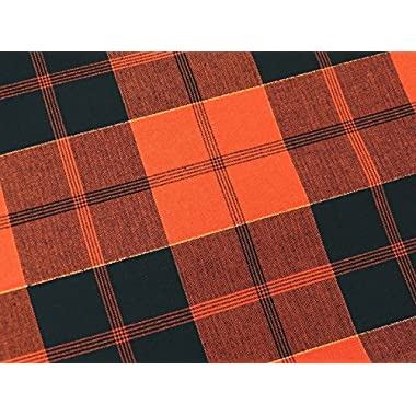hc-b102 Halloween Vintage-Inspired Plaid Tablecloth 100% Cotton 60 x 102  Black Orange White