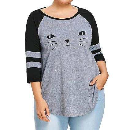 Camisetas y tops Mujer Tres Trimestre Manga O cuello Blusa Cara de gato Impreso Casual Blusas