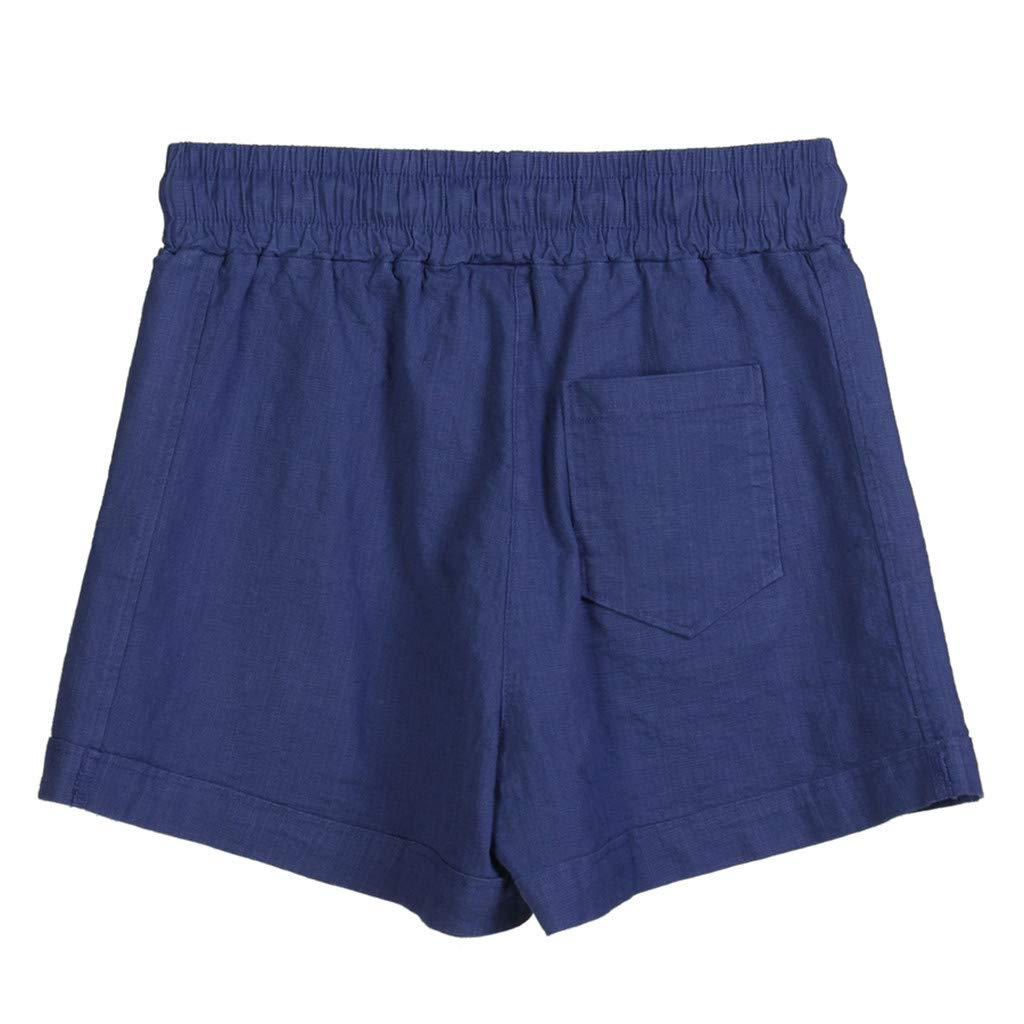 GREFER Plus Size Shorts Womens Solid Elastic Waist Stretch Shorts Casual Mid Waist Short Pants
