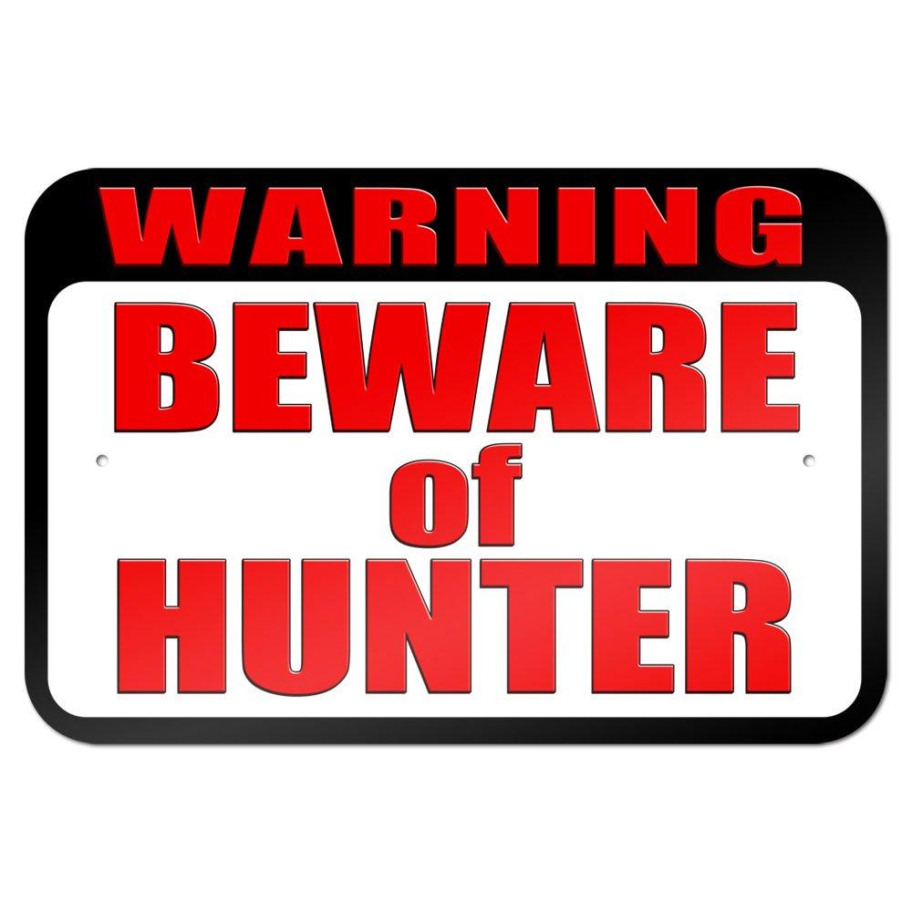 Warning Beware of Hunter 9'' x 6'' Metal Sign