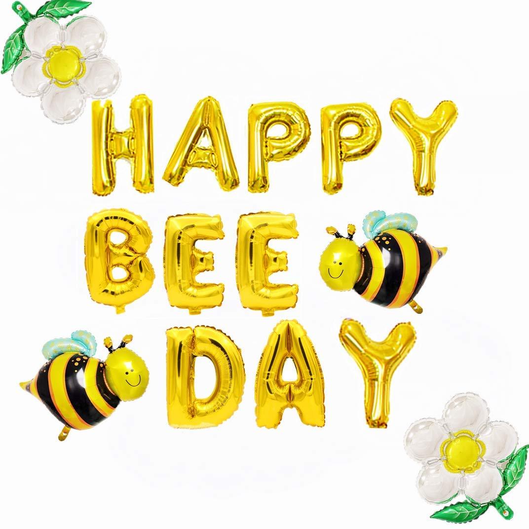 JeVenis Happy Bee Day バルーン ハッピーなハチの日 バナー マルハナバチ ベビーシャワー 装飾 バンブルビー バルーン ベビーシャワー 1歳の誕生日 マルハナバチ 装飾 ハチパーティー   B07Q7ZTZNX