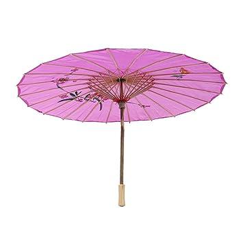 SODIAL estilo chino patrón de orquídea Cloth Bamboo Bailar Oriental  Paraguas púrpura 1f2f68fa56f