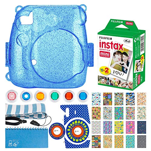 Fujifilm Instax Mini Twin Pack Instant Film (20 Exposures) + Hard Glitter Case (Cobalt Blue) + Scrapbooking Album + Striped Strap + Camera Sticker + Lens Filters + 20 Sticker Frames Travel Package