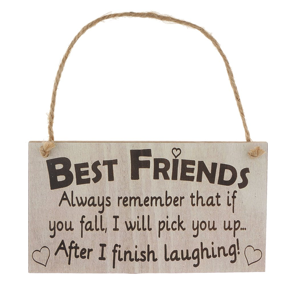 MonkeyJack Best Friends Always Remember That If You Fall I Will Pick You Up When I Finish Laughing! Novelty Best Friend Friendship Wooden Hanging Plaque Gift Sign
