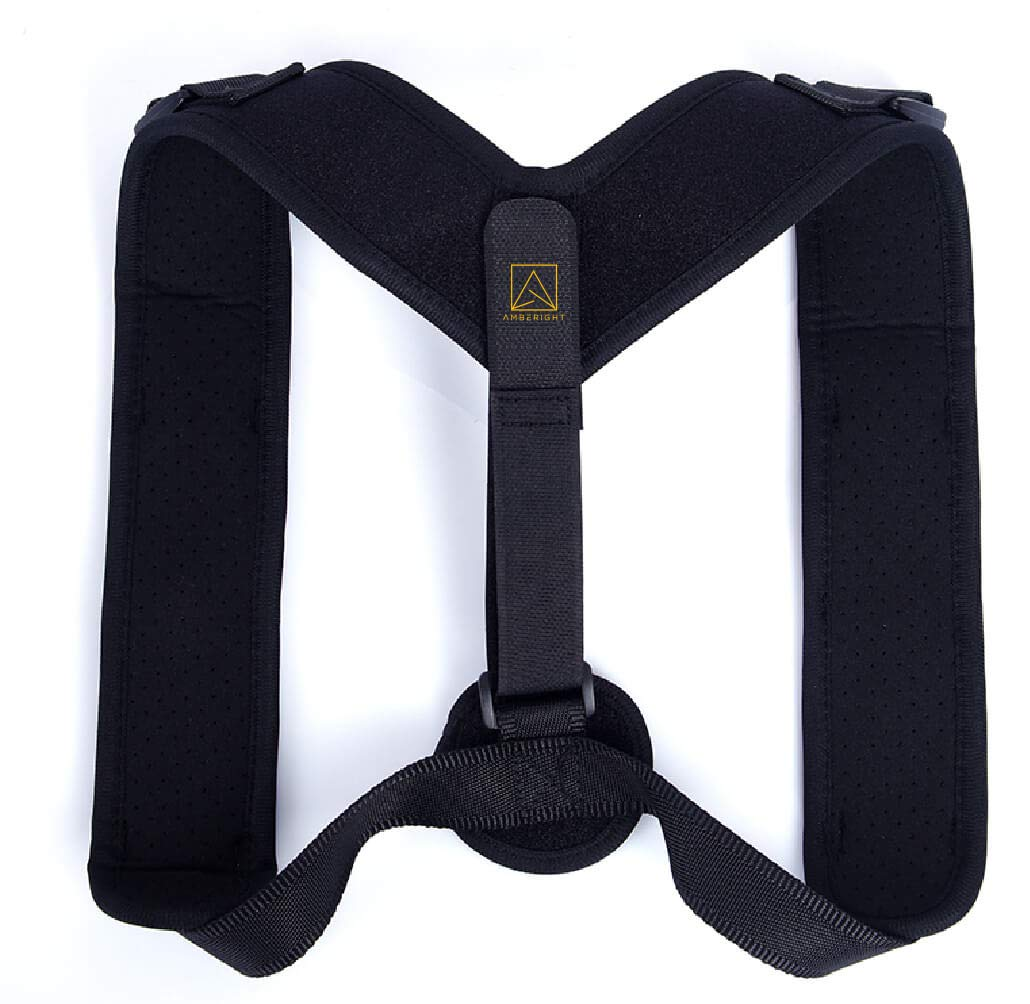 Amberight Back Posture Corrector Women Men Kids - Medical Cushion Support Brace - Natural High Flat Lumbar Low Neck Lower Shoulder Body Pain Scoliosis Kyphosis Orthopedic Mobile Comfort