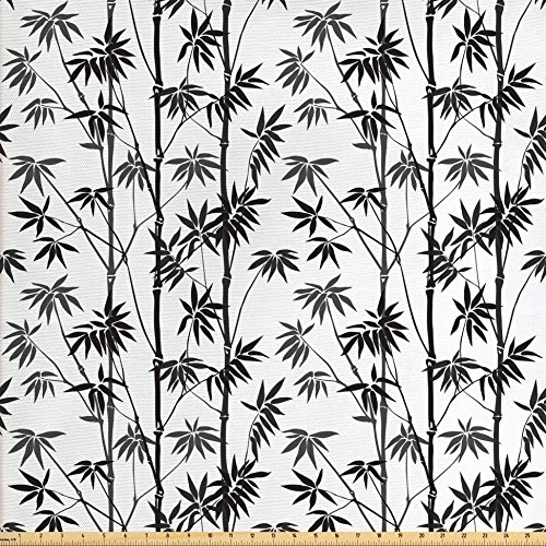 Lunarable Bamboo Fabric by The Yard, Monochrome Exotic Trees Pattern Asian Flora Garden Japanese Nature Artistic, Decorative Fabric for Upholstery and Home Accents, Black Grey White