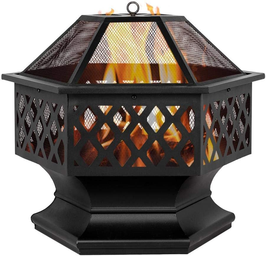 Goujxcy 24 inch Hex-Shaped Outdoor Fire Pit Bonfire Wood Burning Patio Backyard Firepit with Screen Cover for Back Yard Camping Porch Deck Patio