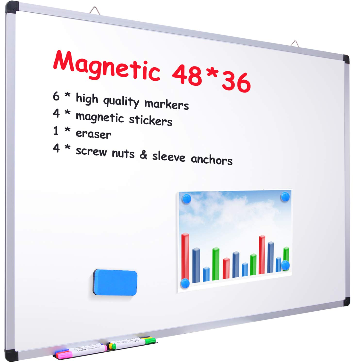 48'' x 36'' Dry Erase Board, Ohuhu Magnetic Large Whiteboard/White Board with 6 Color Dry Erase Markers, 4 x Magnetic Stickers, 1 x Eraser, 4 x Screw Nuts & Sleeve Anchors, Aluminum Frame, Silver