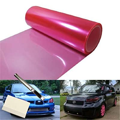 12 by 48 Inches Self Adhesive Headlight, Tail Lights, Fog Lights Tint Vinyl Film with Knife and Hand Tool (Pink): Automotive [5Bkhe0115458]