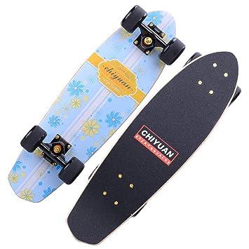 1-1 Skateboard Patineta 4 Ruedas de PU Grandes por Niños Chicas Muchachos Adulto Mudo Antideslizante Ligero La Seguridad Robusto,B*Yellow: Amazon.es: ...