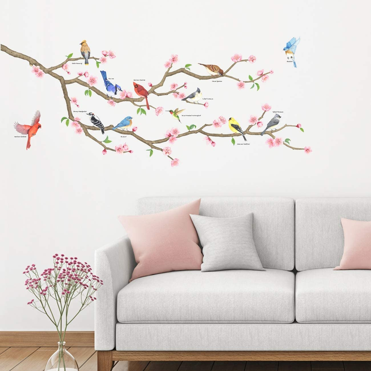 DECOWALL DAT-2004 Garden Birds on Tree Branch Kids Wall Stickers Wall Decals Peel and Stick Removable Wall Stickers for Kids Nursery Bedroom Living Room