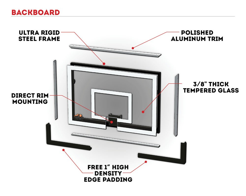 Ryval X660 Basketball Hoop 60 Clear View Tempered Glass Diagram Backboard Height Adjustable For Children Adults In Ground Goal Heavy Duty Flex