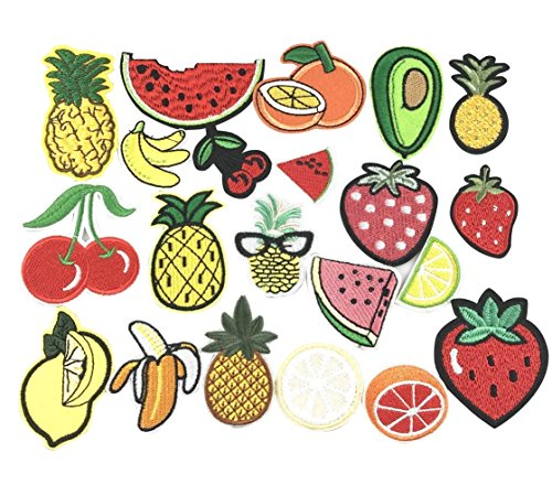 YAKA 21pcs Assorted Iron Embroidery Patches Fruit Kits, Embroidery Applique Sewing for Jackets Dress Hat Vest Jeans Backpacks Clothes, Decoration Applique Patch DIY Accessory Fruit ()