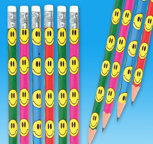 7.5'' Smiley FACE Pencil, Case of 720 by DollarItemDirect (Image #1)