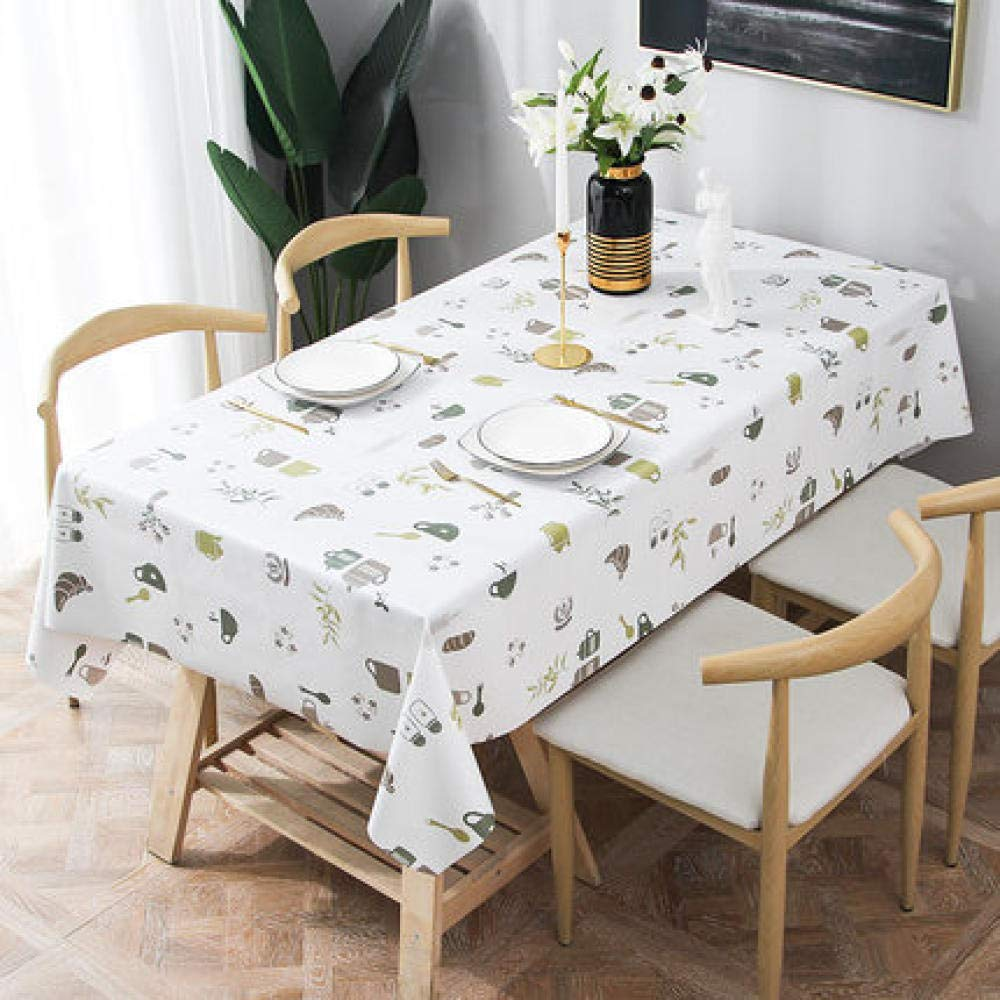 WJJYTX Plastic Table Covers Wipe clean,Square Modern/Protector Textile Backing white-137 * 220_F