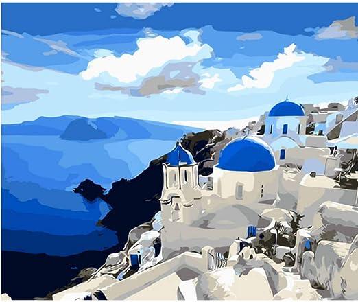 SKYTY Mediterráneo Azul Océano Hermoso Santorini Paisaje DIY ...